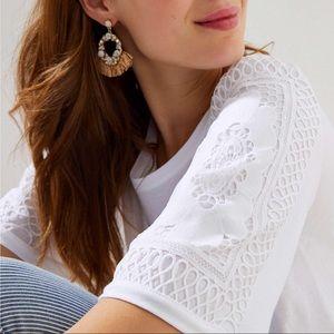 Loft   Crochet Elbow Sleeve Shirt